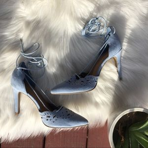 Christian Siriano Payless blue tie pointed heels